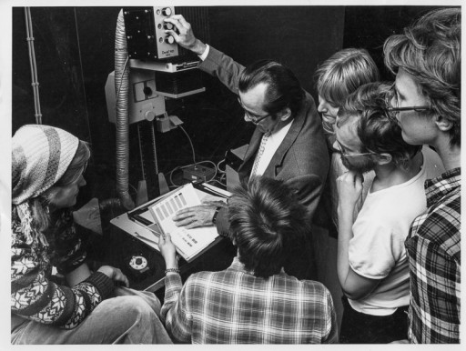 Teacher and students in the darkroom